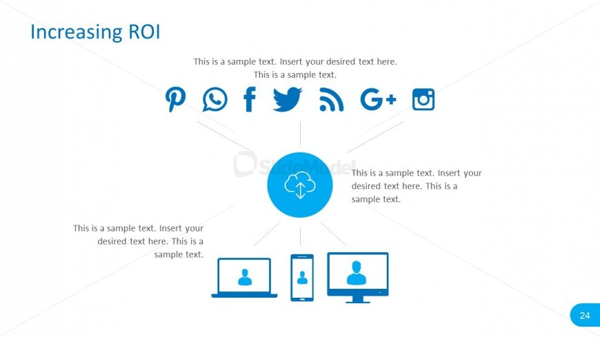 Editable PowerPoint Social Media vectors with Cloud Icons