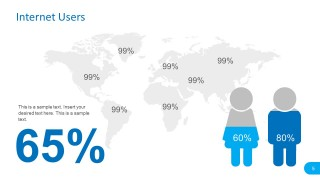 Internet Users Map Template with Percentage