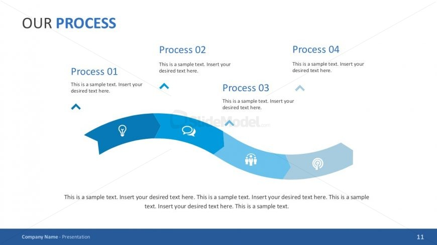 4 Step Process Pitch Deck PowerPoint SlideModel