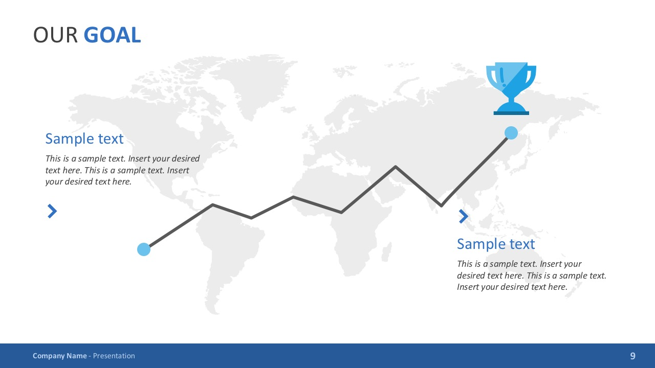 Trophy with World Map Vectors for PowerPoint