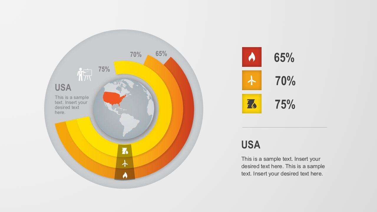 Editable Global Donut Chart For PowerPoint