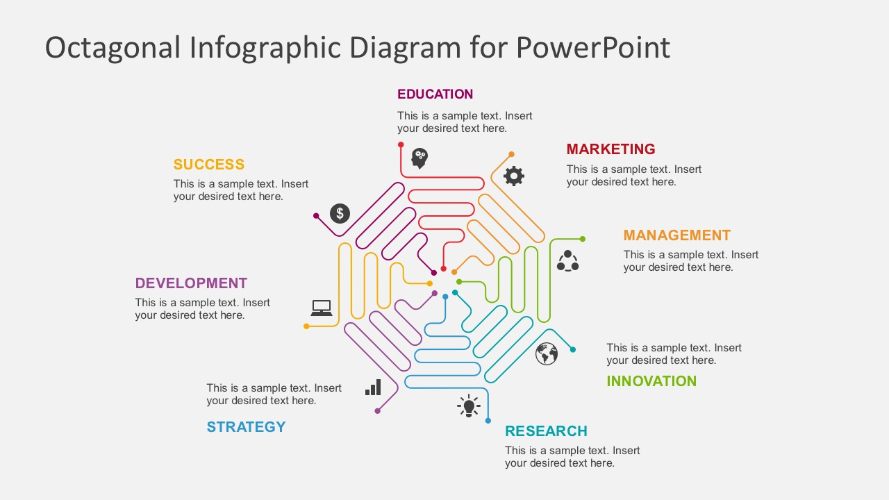 Flat Design Process Flow Diagrams Business PowerPoint