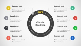 Roadmap With Car Vectors Powerpoint