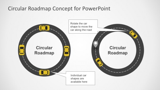 Circular Roadmap Flat Style PowerPoint Vectors