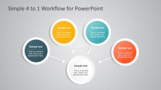 Simple 4 to 1 Workflow Diagram for PowerPoint