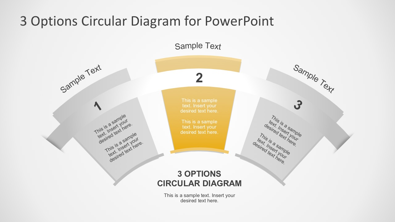 3 Steps Circular Fan Infographic Slides