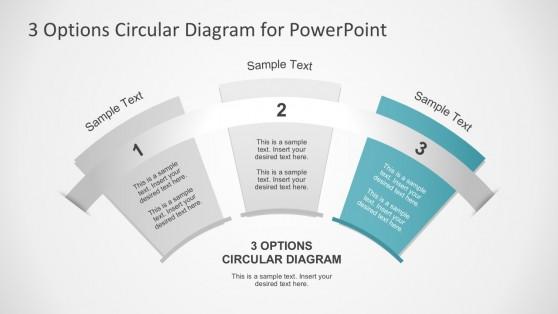 Flat Style 3 Options Fan Diagrams PowerPoint Slides