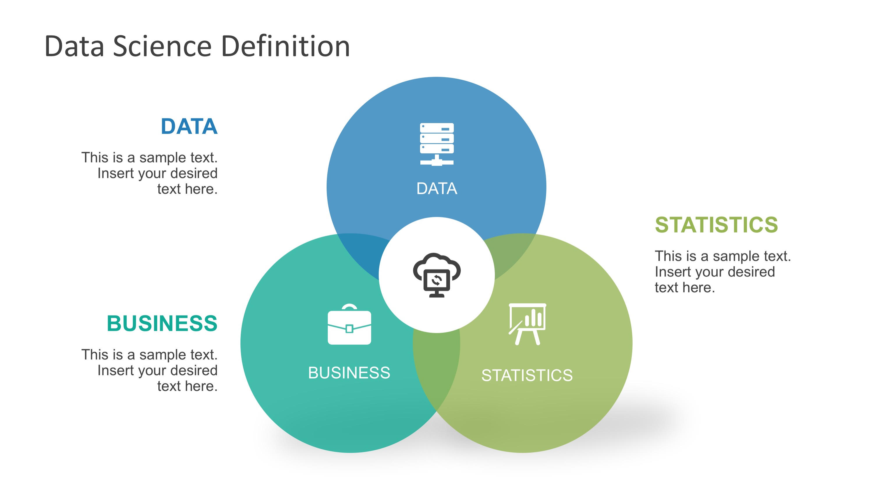 Data science shapes powerpoint template slidemodel ppt templates venn diagram data science toneelgroepblik Gallery