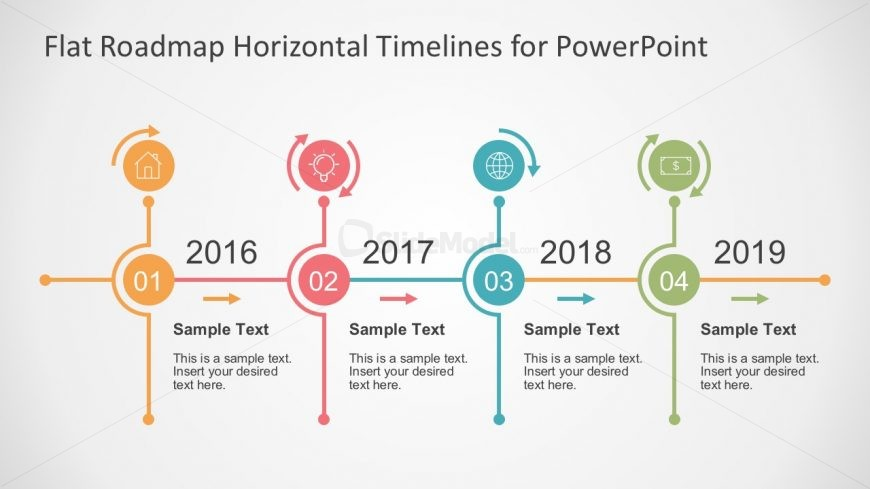 Flat Timeline Slide Presentation In PowerPoint SlideModel - Timeline design template