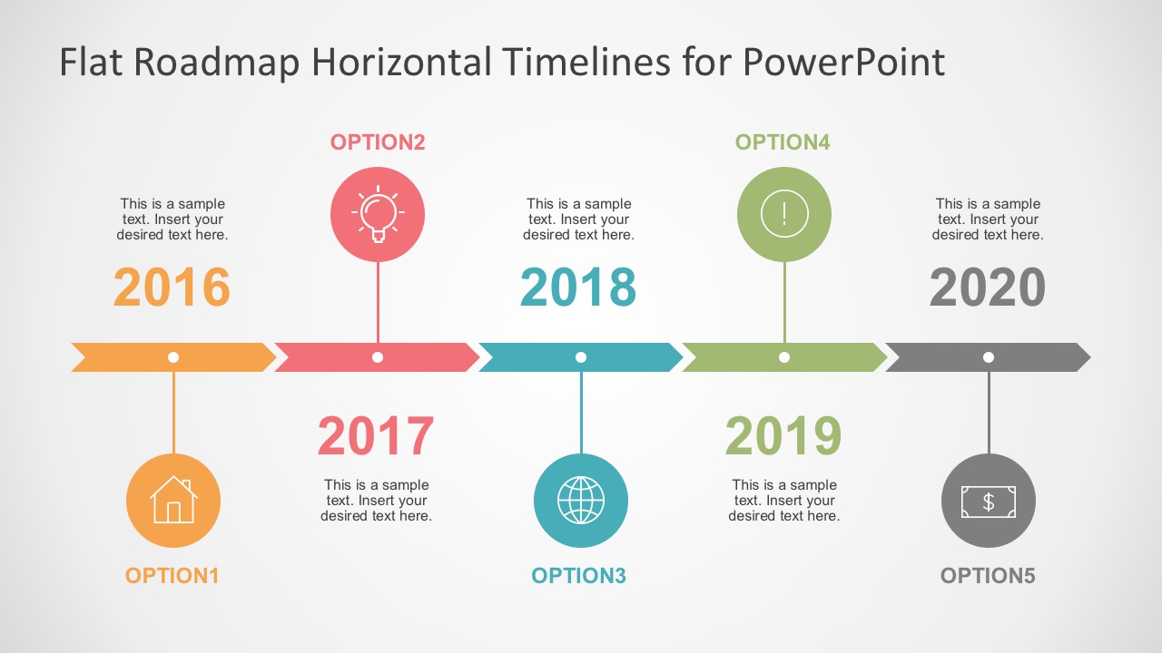 Flat Timelines PowerPoint Templates - Template of a timeline
