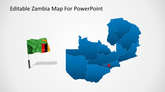 Map with Flag Icon of Zambia for PowerPoint