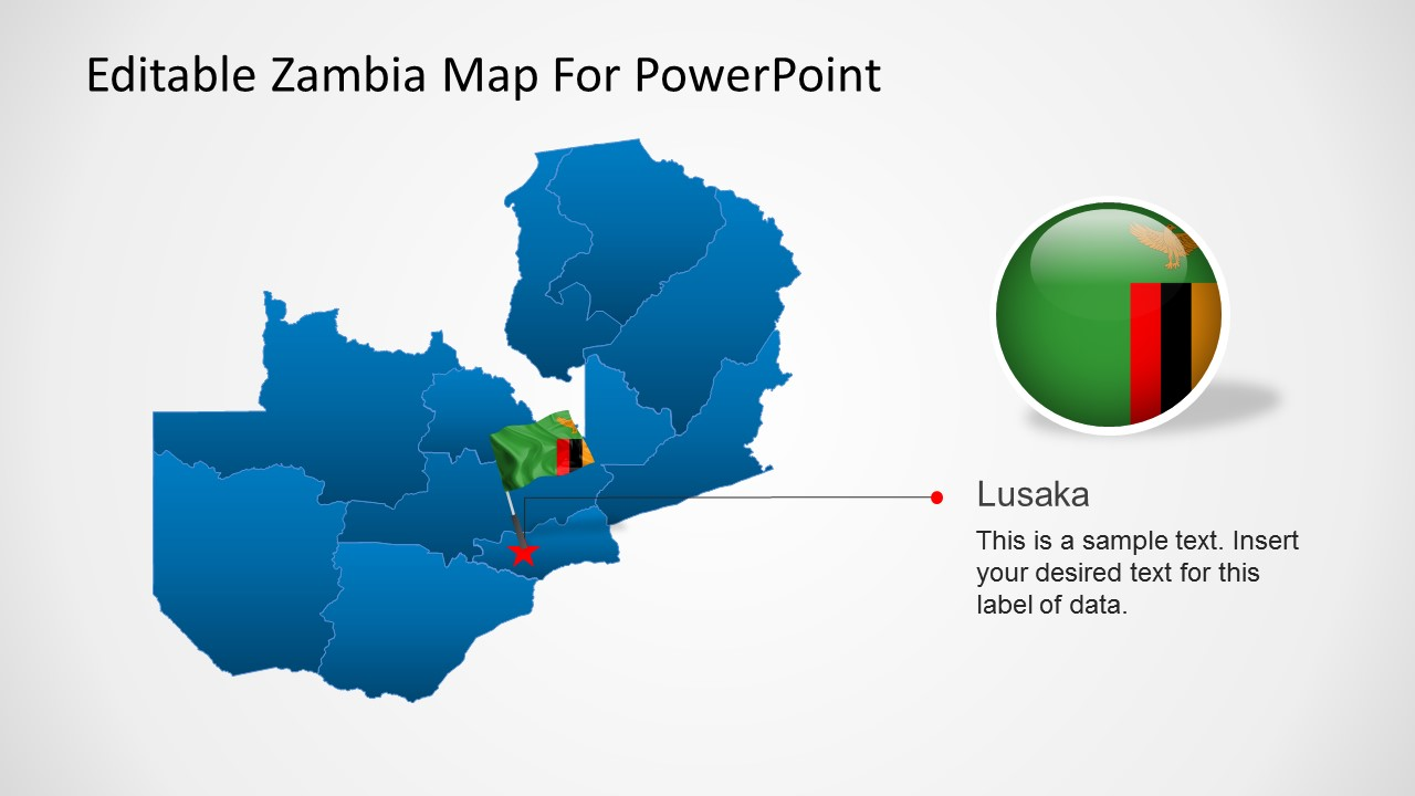 editable zambia map for powerpoint slidemodel
