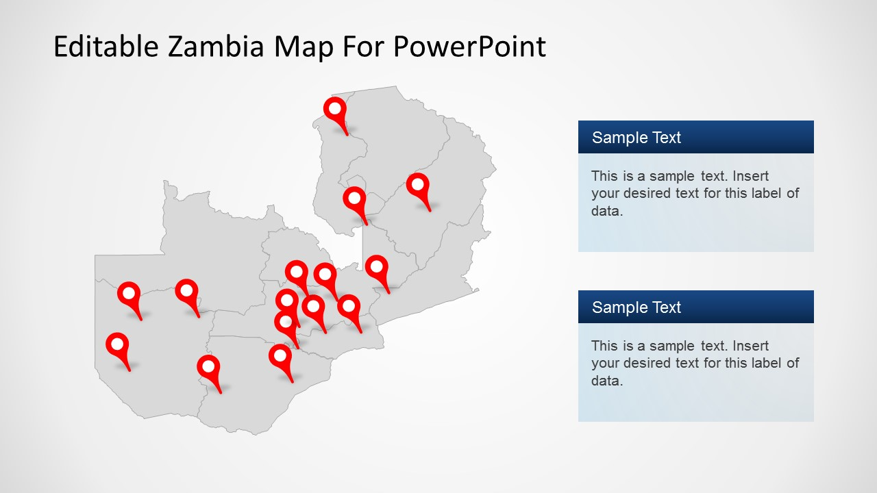 PowerPoint Map of Zambia with Icons