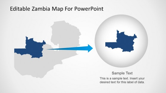 Highlighted State of Zambia Map for PowerPoint