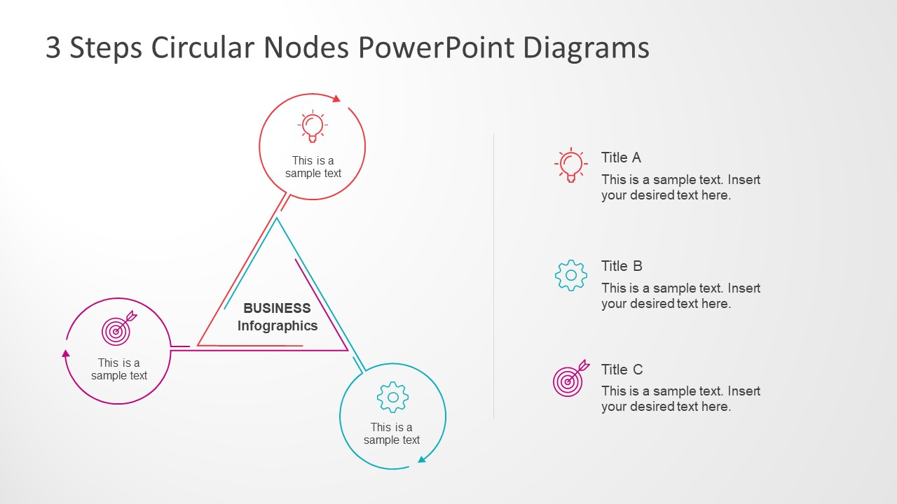 3 steps circular nodes powerpoint diagrams slidemodel infographic sleek line design template triangular diagram and circular nodes slide ccuart Gallery