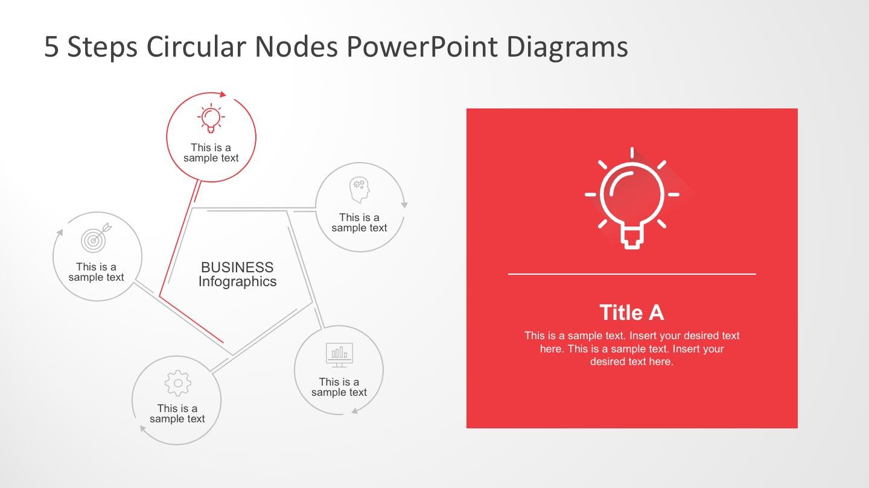 5 Steps Circle Nodes Business Slides