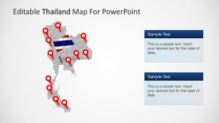 Map of Thailand with Location Markers
