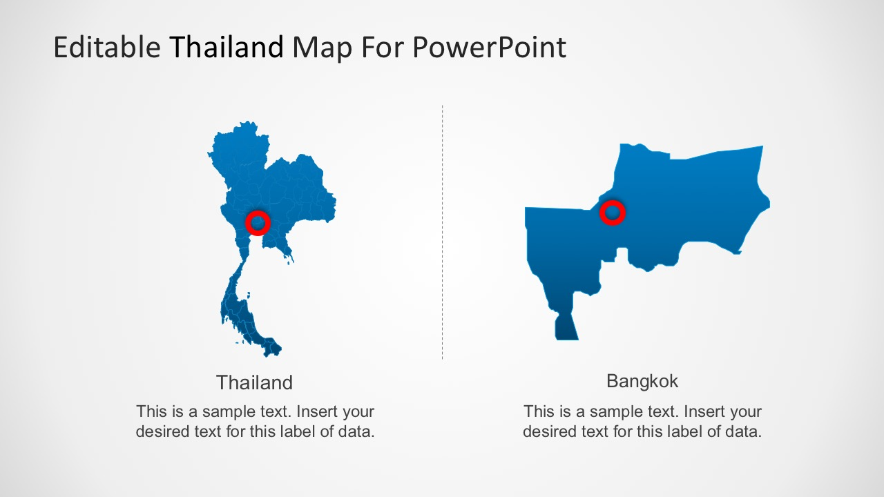 Editable Map of Thailand PowerPoint - SlideModel