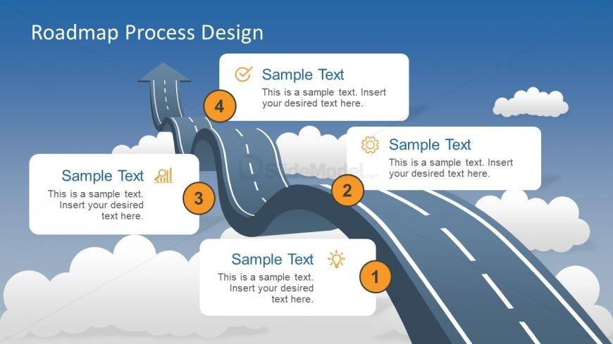4 step roadmap to success metaphor slide slidemodel