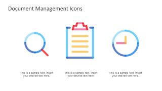 Report Icons and Clock Shape Slide