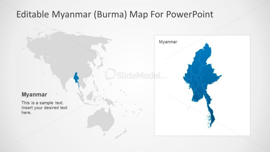 Country Map with Placeholders Myanmar