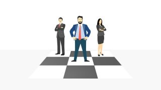 Business Professional Illustration on Checker Board