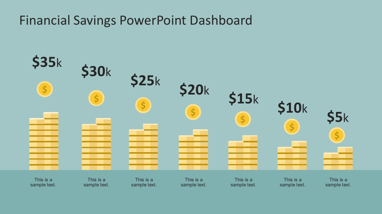 savings dashboard graphics for powerpoint