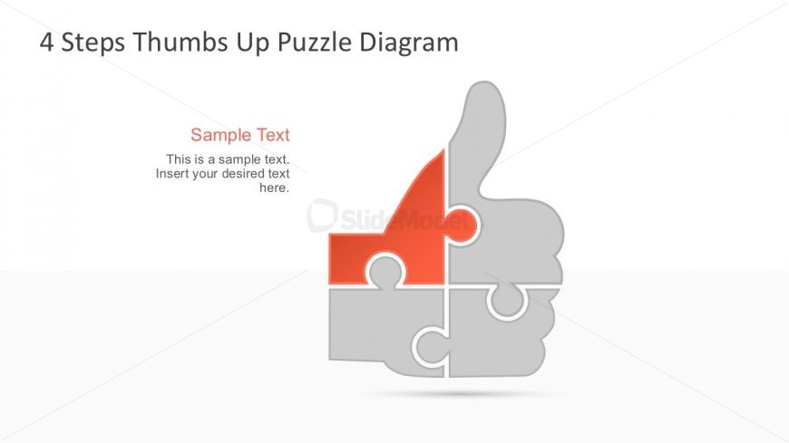 4 Steps Thumbs Up Cool Shapes PowerPoint