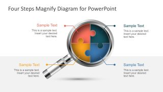 Four Steps Magnify Diagram for PowerPoint