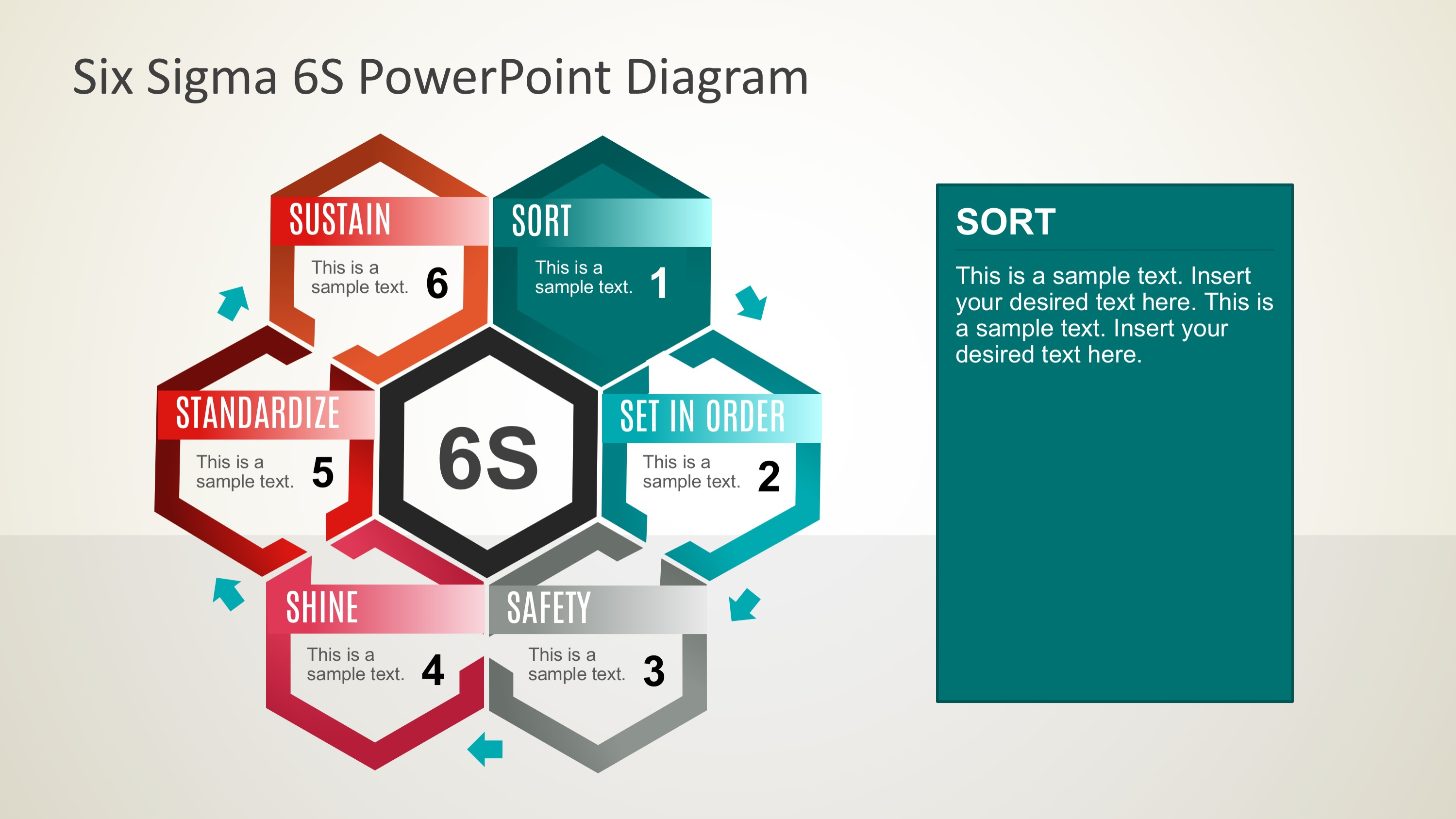 Six Sigma 6S PowerPoint Diagram