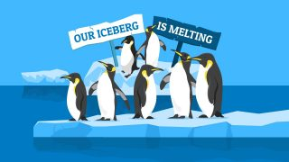 Our Iceberg is Melting Penguin Illustrations for PowerPoint