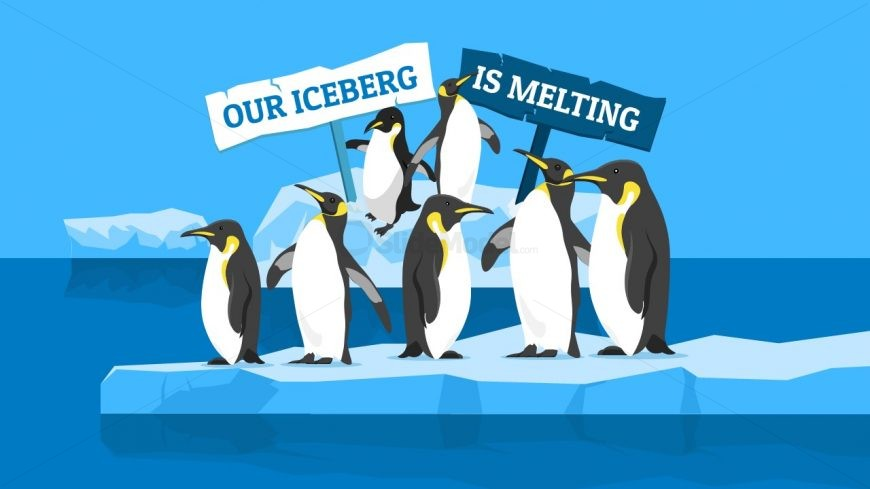 Illustration of Penguins and Iceberg