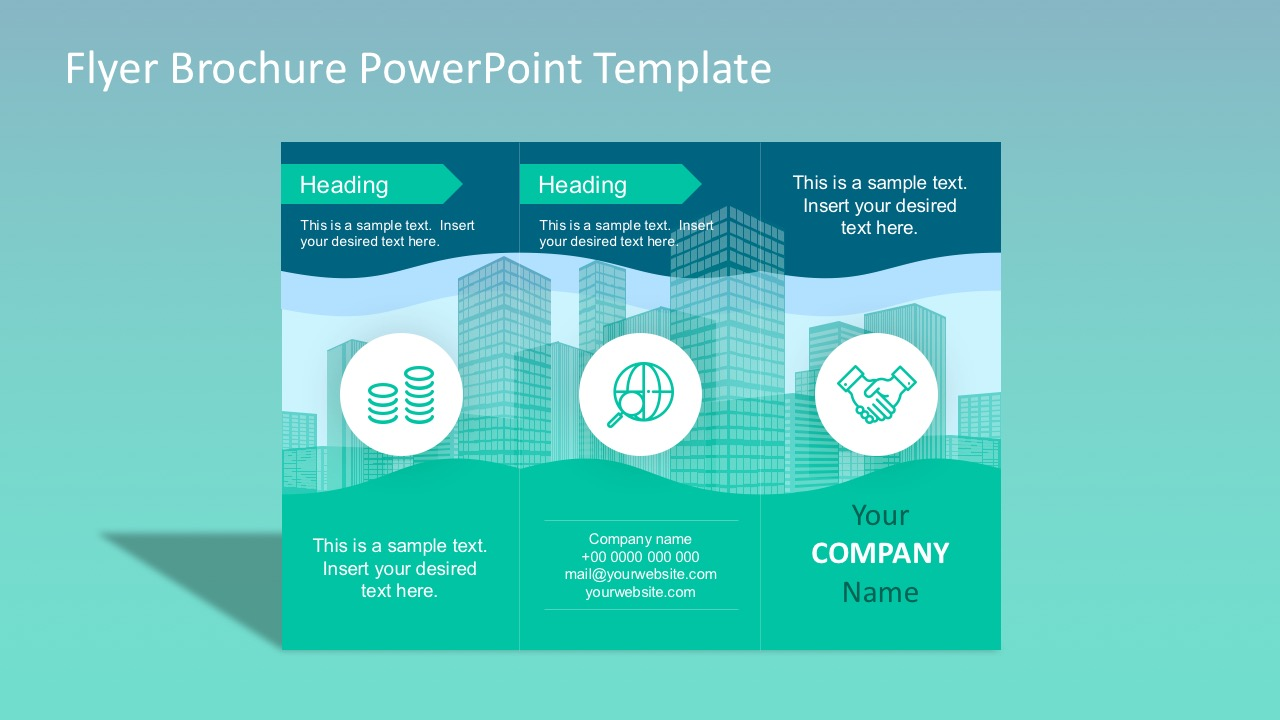 powerpoint handout template - flyer brochure powerpoint template slidemodel