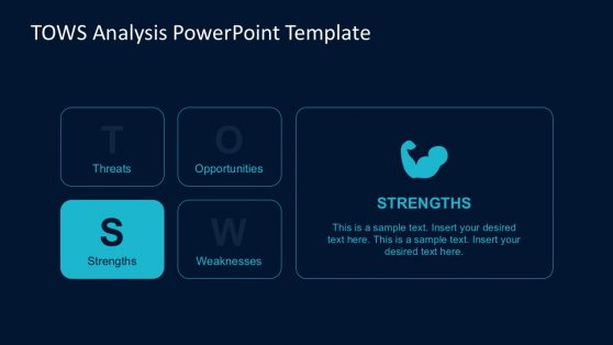 Flat TOWS Analysis Matrix for PowerPoint
