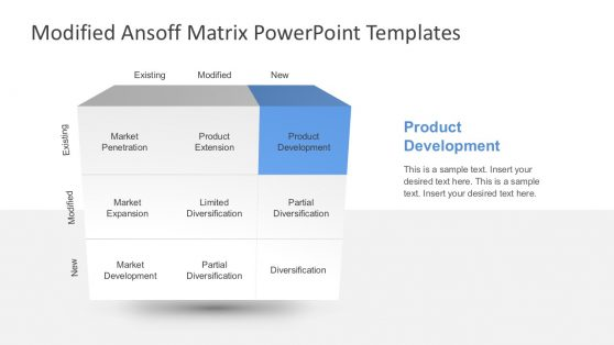 Ansoff Matrix PowerPoint Template with 9 Boxes