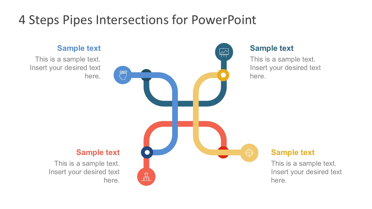 Four Steps Pipes Intersection PowerPoint Templates - SlideModel