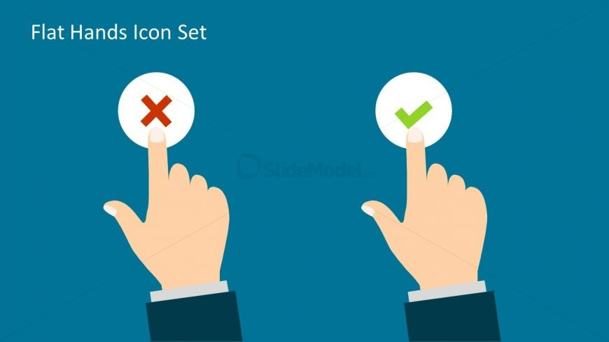 Slide of Right and Wrong Icon Finger Pointing