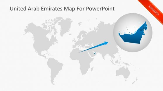 UAE Territory Map For PowerPoint