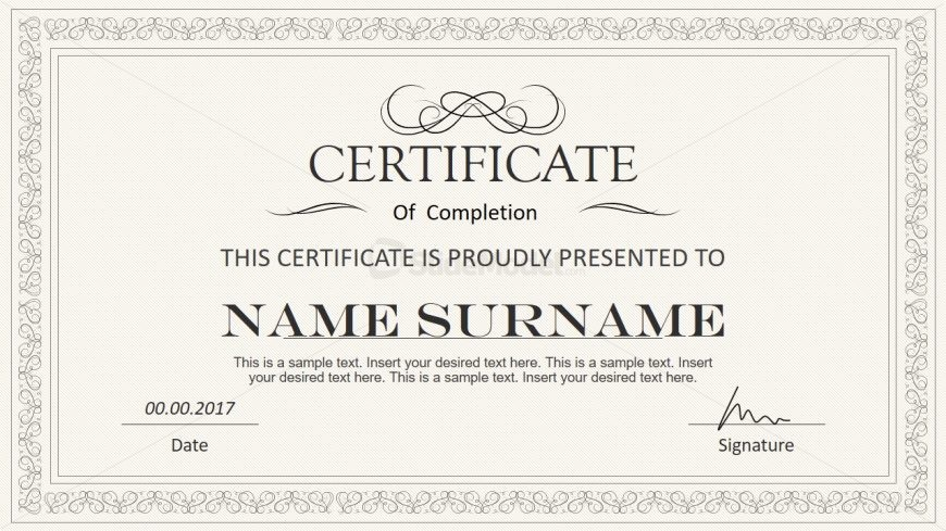 Certificate Layout with Stylish Design