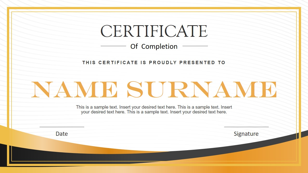 Modern PowerPoint Certificate Template - SlideModel With Regard To Powerpoint Certificate Templates Free Download