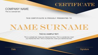 Blue Yellow Gradient Certificate PowerPoint Template