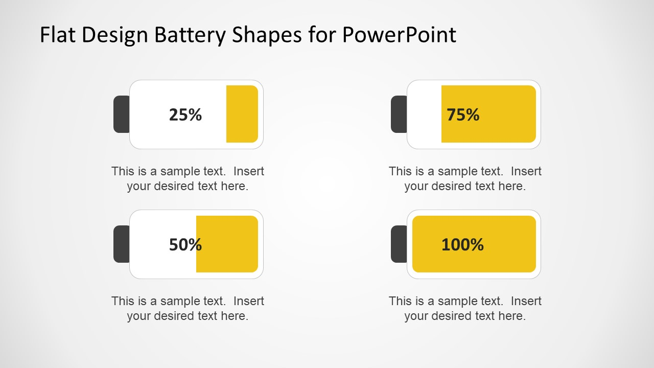 Four Infographic Battery Shapes Showing Levels