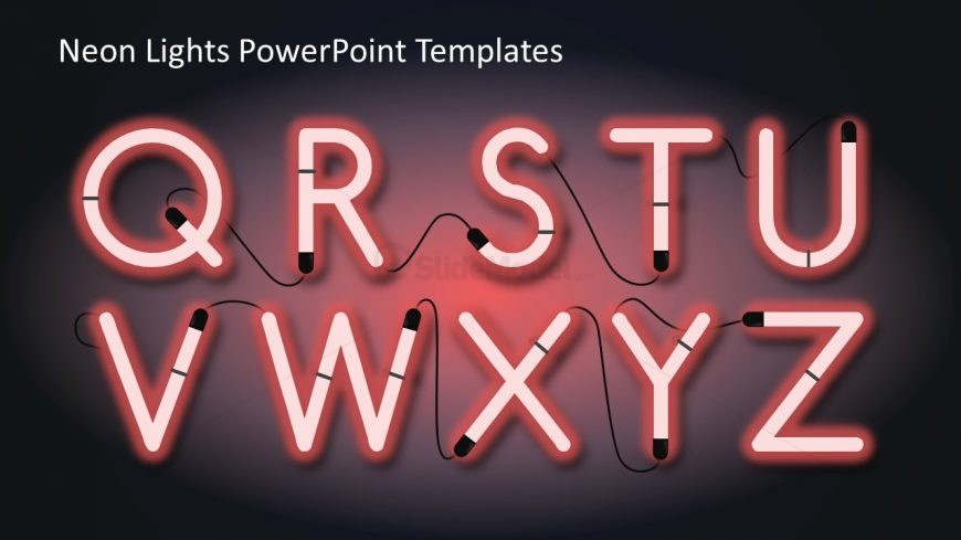 Glow Neon Alphabet Characters PowerPoint