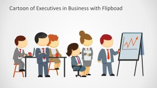 Executives in Business Meeting with Flipboard Cartoon