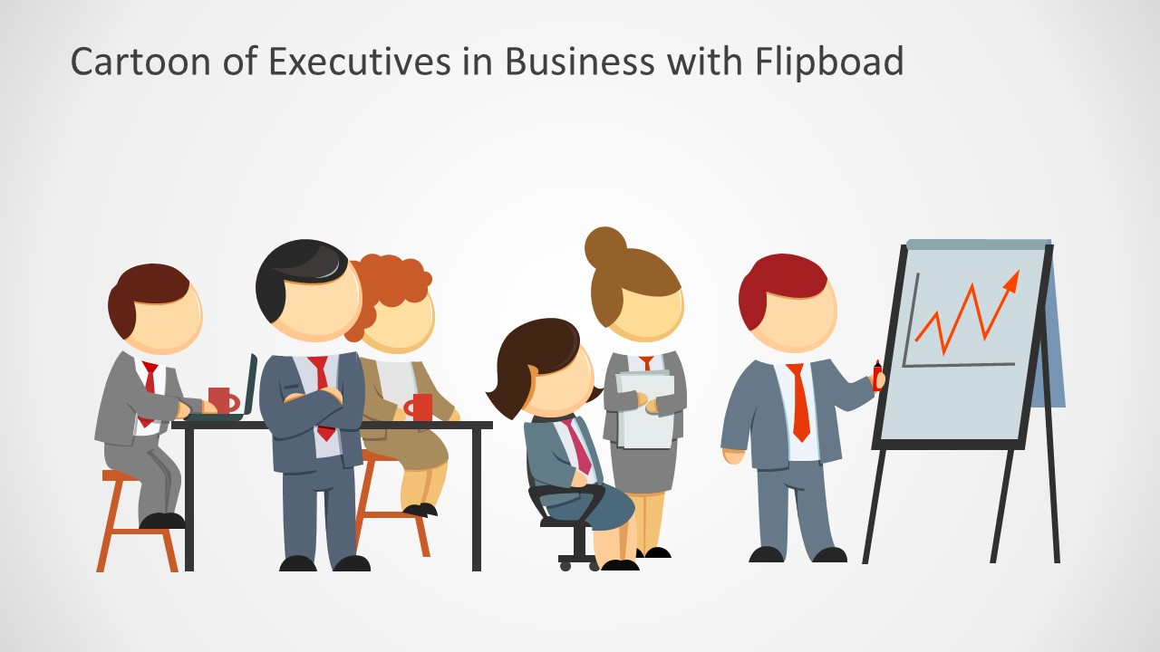 executives in business meeting with flipboard cartoon slidemodel