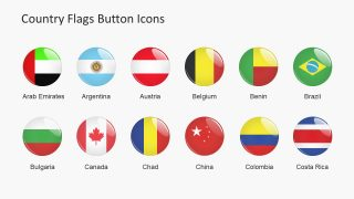 Country Flags Button Icons PowerPoint Shapes