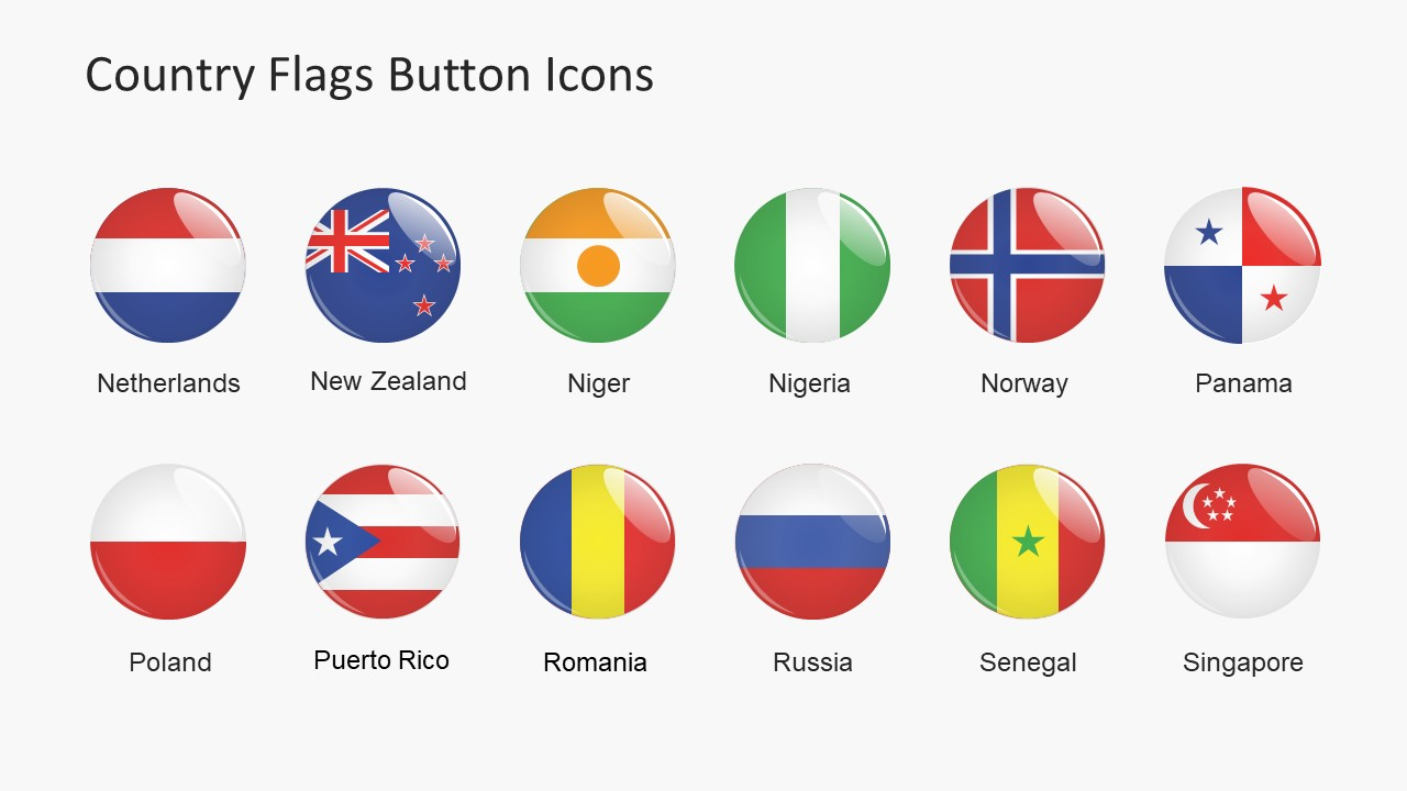 Use Flag Buttons PowerPoint Template