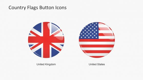 Large Button USA and UK Flag