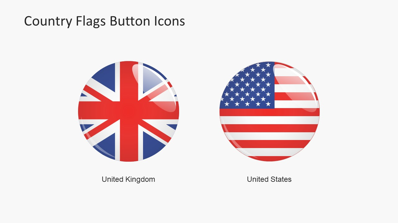 Country flags button icons powerpoint shapes slidemodel use flag buttons powerpoint template country representation badge buttons united states and united kingdom badge toneelgroepblik Image collections