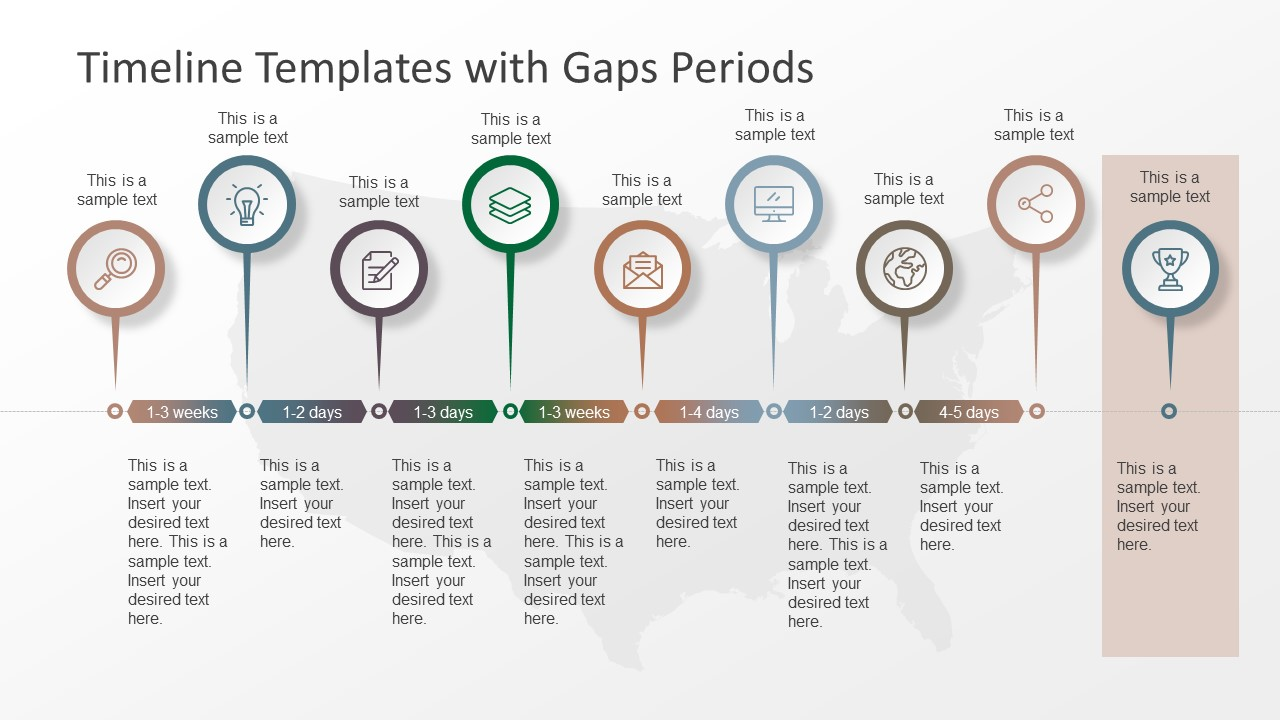 Timeline templates with gaps periods slidemodel for Timline template
